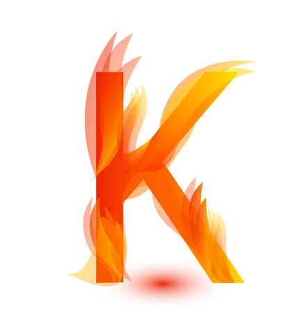 Letter K in fire flame icon vector illustration. Illustration