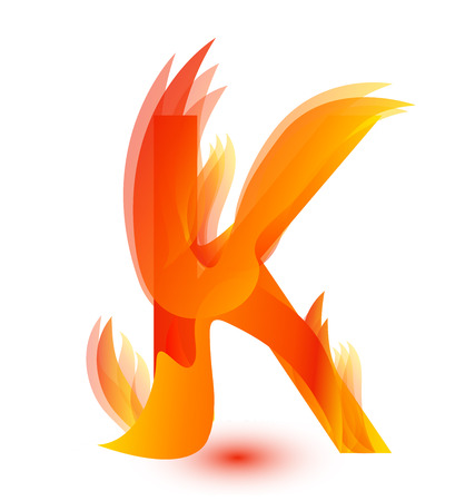Letter K in fire flame icon vector illustration. Vettoriali