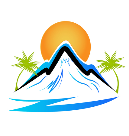 Beach and mountain silhouette icon vector illustration.
