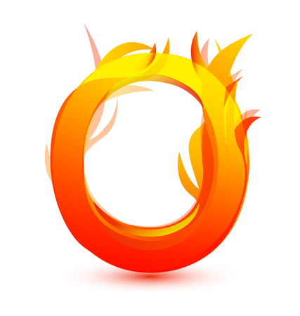 Letter O in fire flame icon vector illustration.