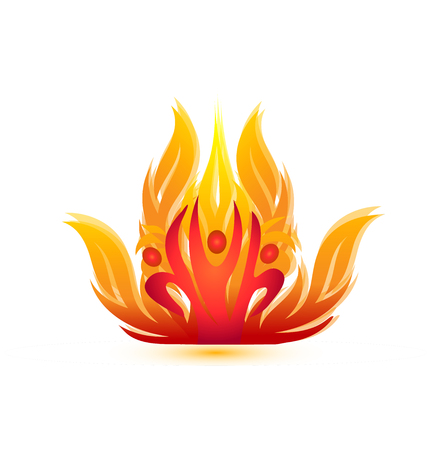 Man team creating fire, energetic flames icon vector illustration.