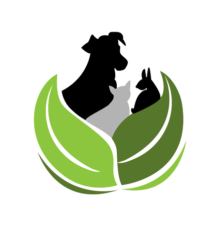 Dog and cat environment friendly vector icon Illustration