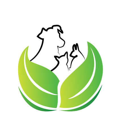 Dog and cat environment friendly vector icon Vectores