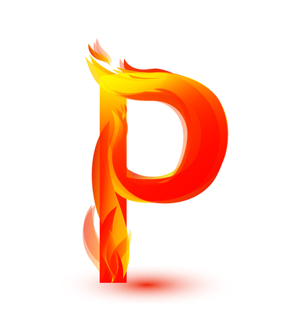 Letter P in fire flame icon vector illustration.