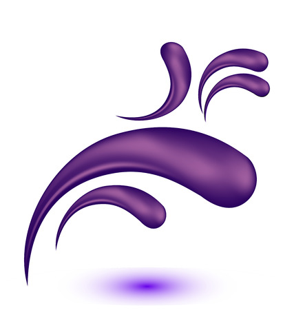 Purple droplet swirly floral vector icon illustration.