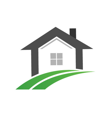 Real estate home and green road path, icon vector illustration.