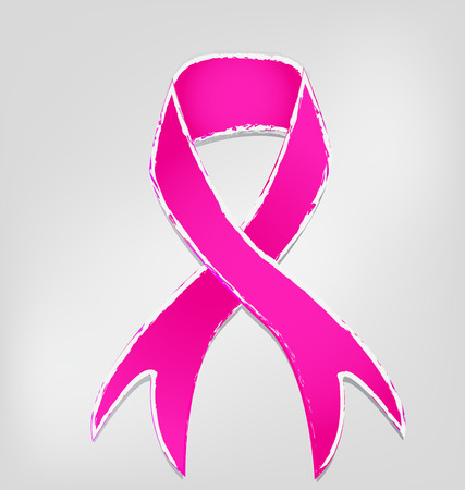 Breast cancer awareness pink ribbon isolated icon vector illustration. Ilustrace