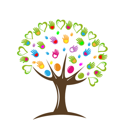 Tree teamwork hearts and hands vector icon illustration