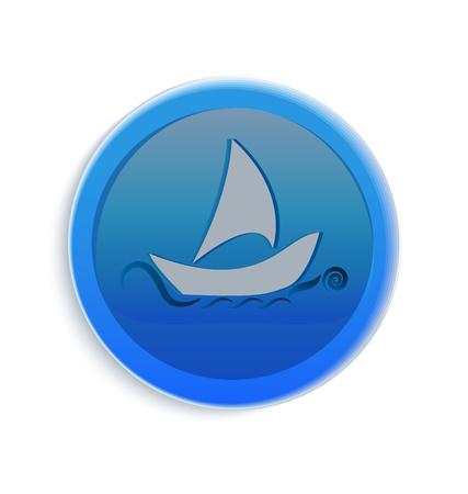 Boat on the sea icon Vector illustration. Ilustracja