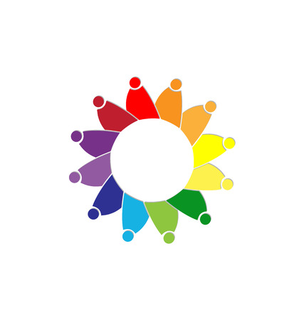 Teamwork colorful people representing diversity, icon Vector illustration.