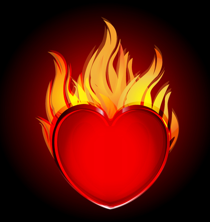 Heart in fire flames icon vector on black background