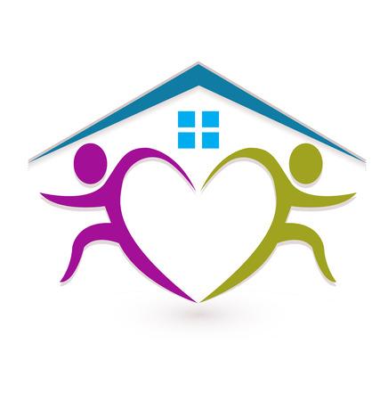 Teamwork people real estate homes, heart shape, icon vector Illustration