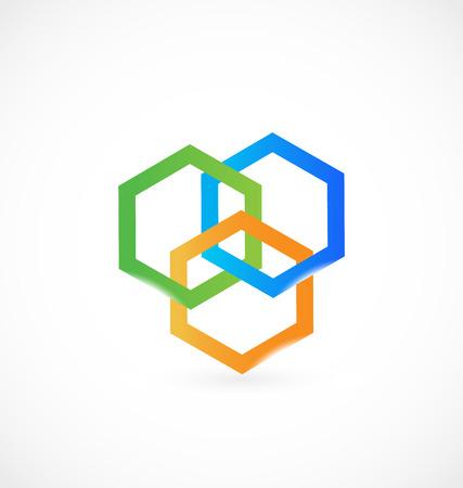 Geometrical abstract hexagon, icon logo vector