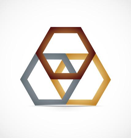 Geometrical abstract metal hexagon, icon logo vector