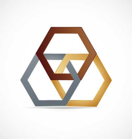 Geometrical abstract metal hexagon, icon logo vector