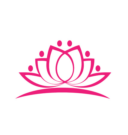 Pink lotus flower icon vector  イラスト・ベクター素材