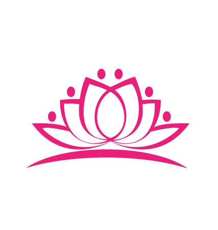 Pink lotus flower icon vector Vettoriali