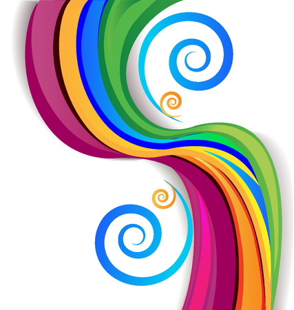 Colorful rainbow swirly over white background