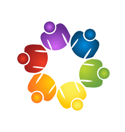 Team of different color people icon vector