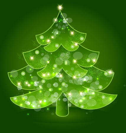 Christmas holiday tree with festive lights icon vector