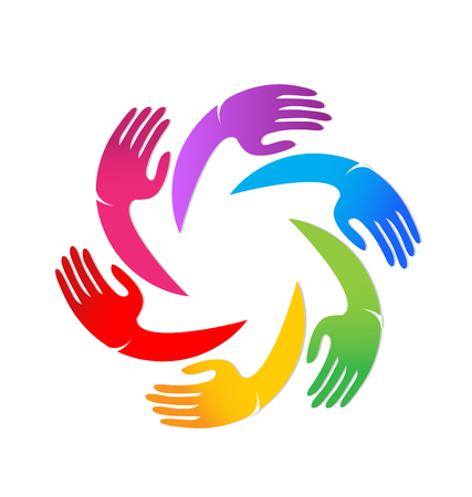 Diverse colorful hands coming together, vector icon Illustration