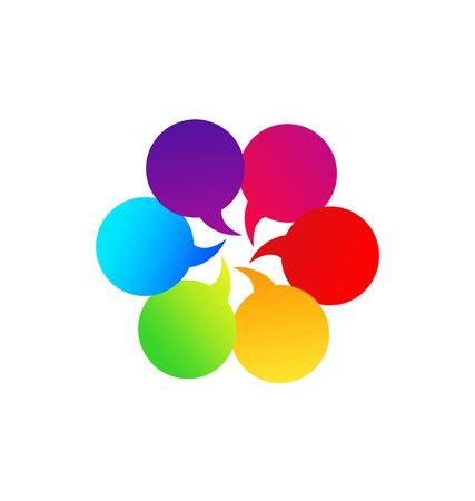Bubble colorful speech group communication icon vector