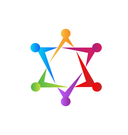 Teamwork star formation group management icon vector