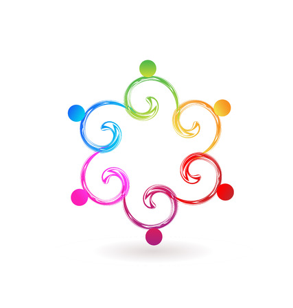 Teamwork colorful swirly people icon Vector illustration.