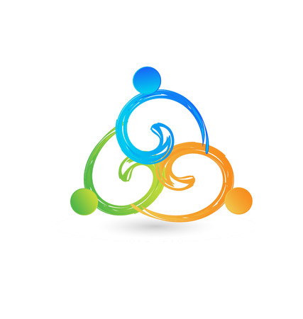 Teamwork people group succeeding together icon with colorful abstract people in a circle Vector illustration.