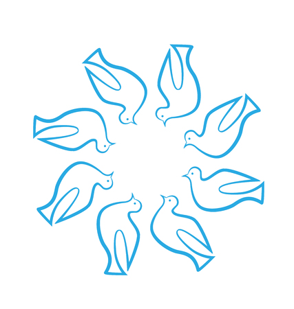 Group of blue doves abstract icon Vector illustration. Illustration