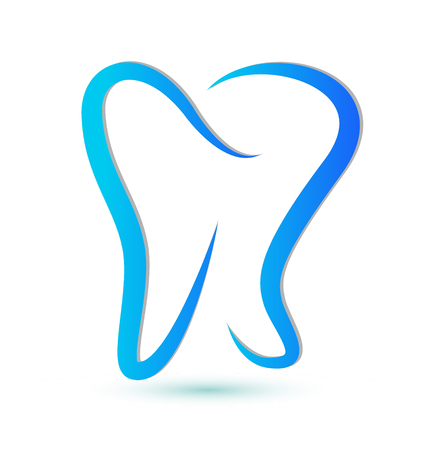 Blue silhouette dental tooth stylized icon Vector illustration.
