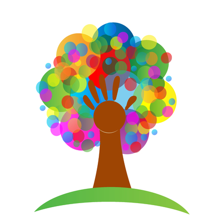 Tree colorful abstract icon Vector illustration.