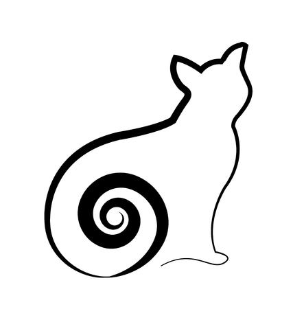 Black cat silhouette icon Vector illustration. Archivio Fotografico - 96254515