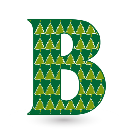 Letter B christmas festive font icon Vector illustration. Vectores