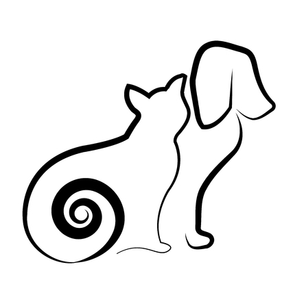 Cat and dog silhouette icon Vector illustration. 스톡 콘텐츠 - 96254514