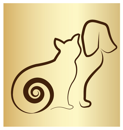 Gold background, Cat and dog silhouette icon Vector illustration.