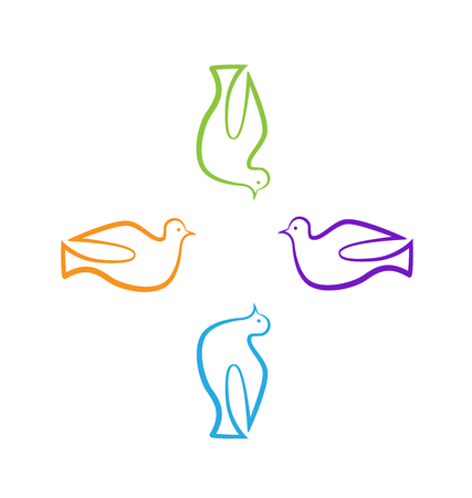 Colorful cross doves abstract icon Vector illustration.