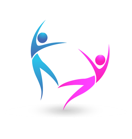 People couple dancing icon Vector illustration.