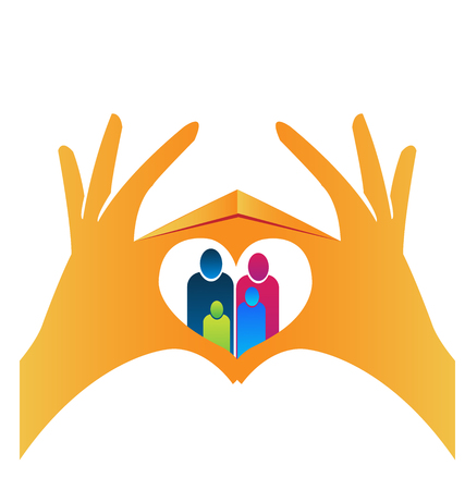 Family people portrait, with heart hands on top of them, icon Vector illustration.