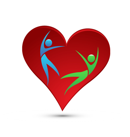 Loving heart, people falling in love, icon Vector illustration. Vectores