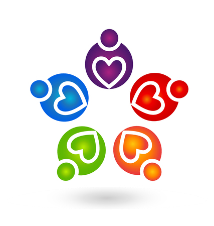 Teamwork helpful caring heart people abstract icon Vector illustration.