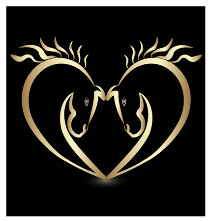 Gold horse lovers creating a heart, icon Vector illustration. Ilustrace