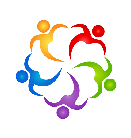 Teamwork people hugging each other with colorful abstract people in a circle Vector illustration.