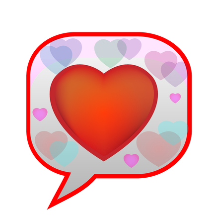 Speech bubble heart emoji communication, icon Vector illustration.