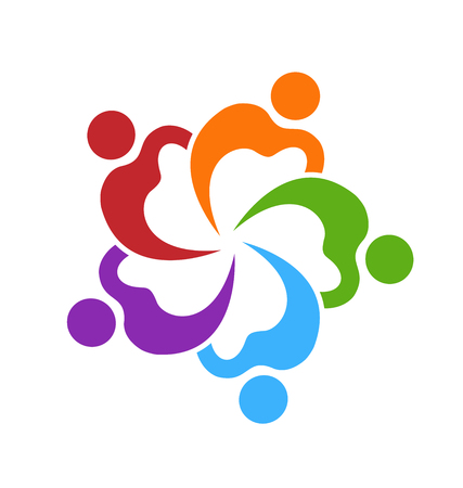 Teamwork colorful people working together with colorful abstract people in a circle Vector illustration. Vettoriali