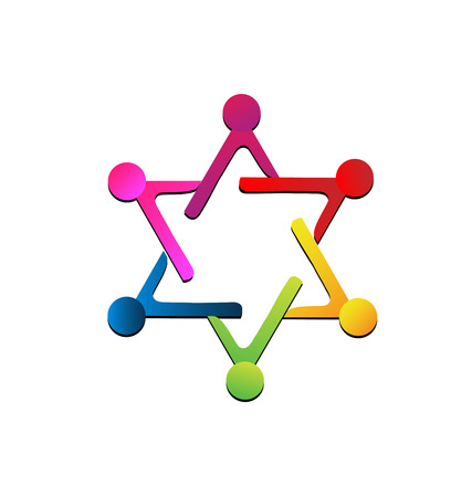 Teamwork people representing a star,  icon with colorful abstract people in a circle Vector illustration. Vettoriali