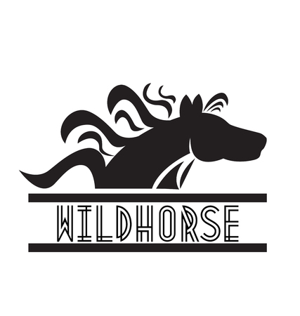 Wild horse text and icon vector on white background