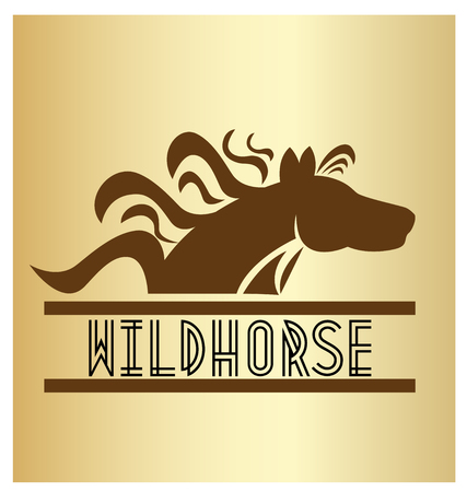 Wild horse text and icon vector on gold background.
