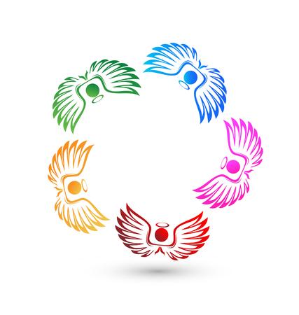 Teamwork angel people icon vector. Illustration