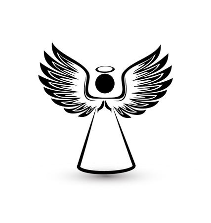 Angel silhouette icon illustration.